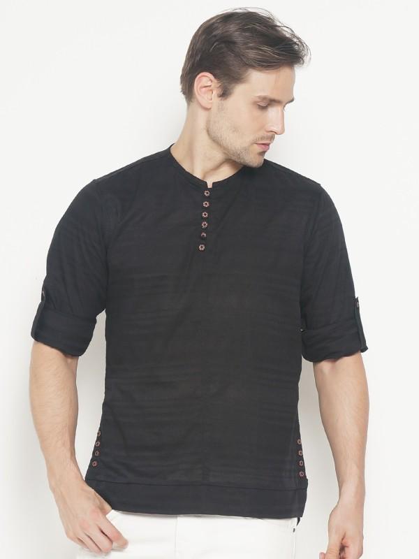 The Indian Garage Co Men Self Design Straight Kurta(Black)