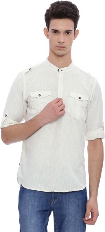 The Indian Garage Co Men Solid Straight Kurta(White)