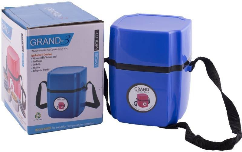 Hilex Amazing Good Quality Foodgrade Blue GRAND 3 Microwaveable Lunch Box / Tiffin Box, Esat to Clean, Easy to Carry 3 Containers Lunch Box(900 ml)