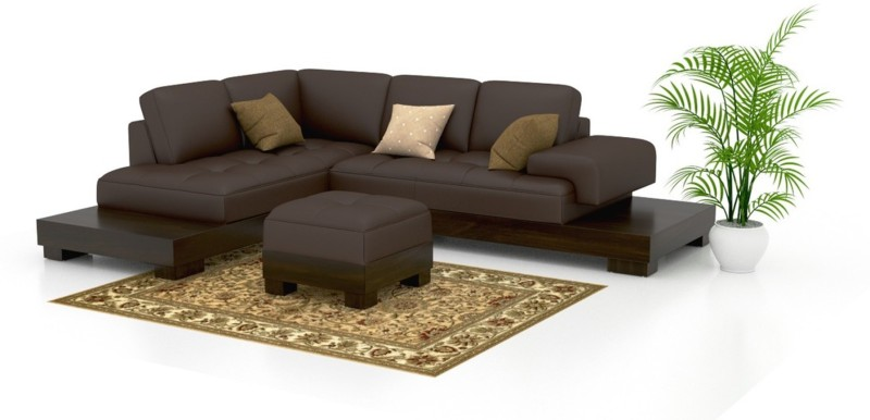 FUNTERIOR Leatherette 2 + 1 + 1 Natural Sofa Set