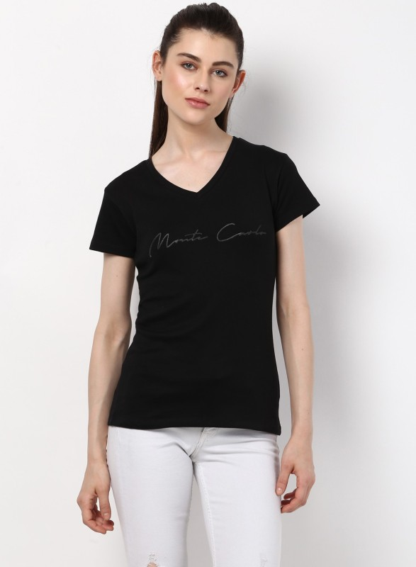 Monte Carlo Solid Women V-neck Black T-Shirt