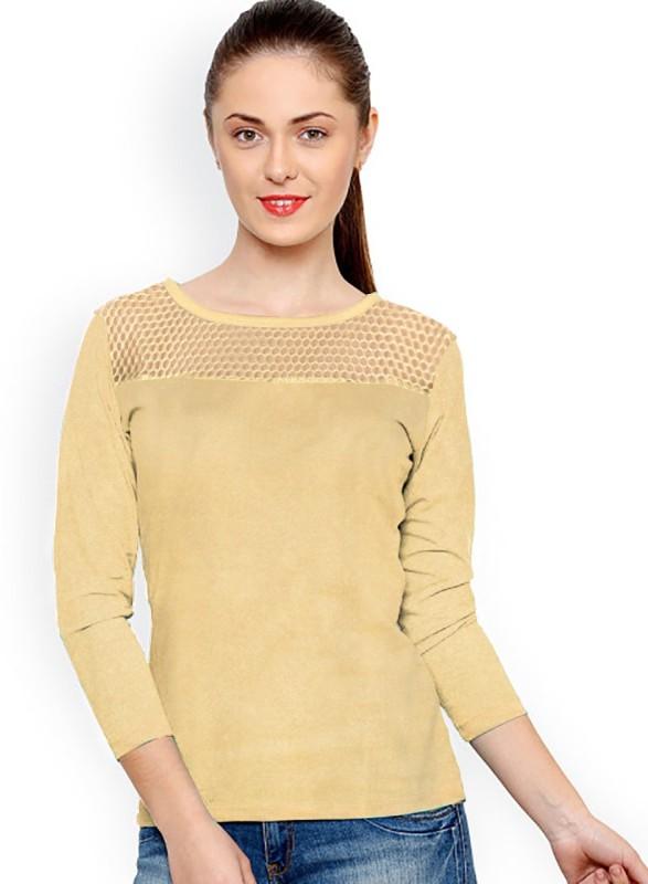 Rudra Enterprise Casual Full Sleeve Stylised Women's Beige Top