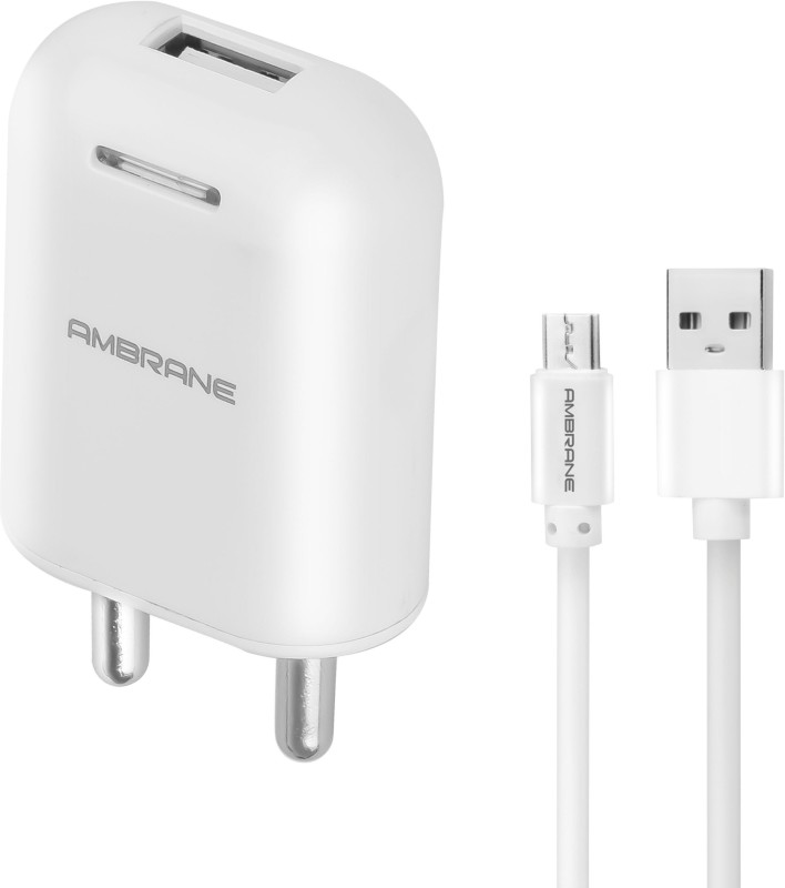 Ambrane AWC-38 With 1 m Sync & Charge USB Cable 2.1A Fast Mobile Charger(User Manual, Cable Included)