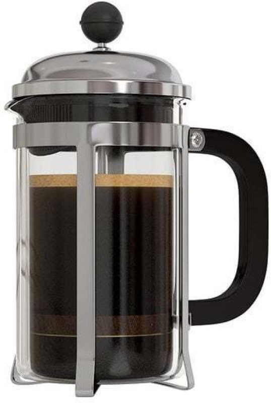 InstaCuppa French Press 600ml with 3 Part Superior Filter BPA Free Borosilicate Glass Carafe Heat Resistant Handle 6 cups Coffee Maker(Black)