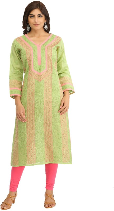Ada Women's Chikan Embroidery, Embroidered Straight Kurta(Green)