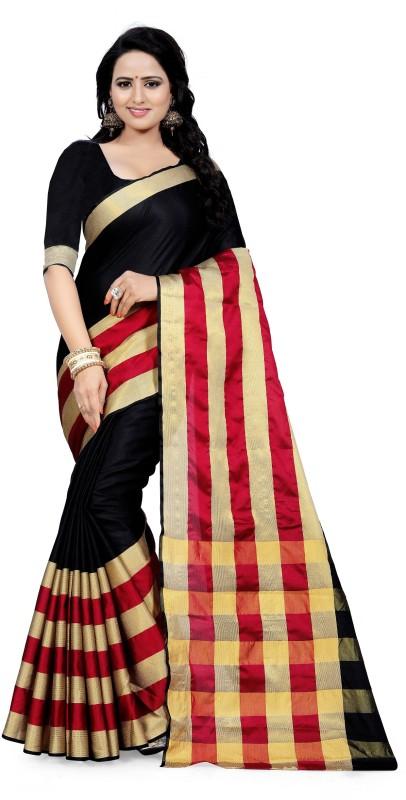 TYLORSTYLE Striped Fashion Tussar Silk Saree(Black, Maroon)