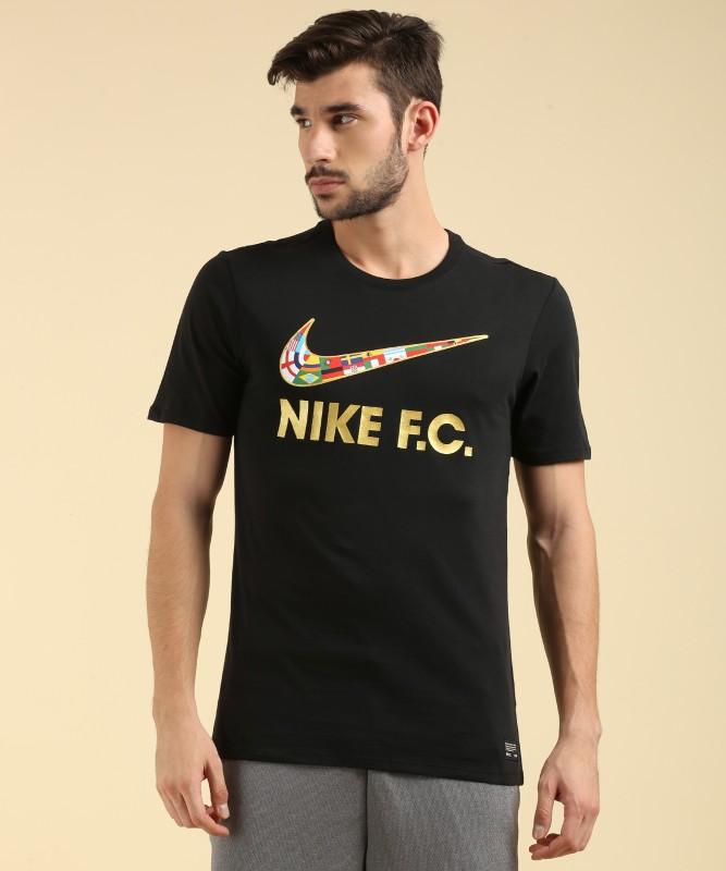 Nike Solid Men's Round Neck Black T-Shirt