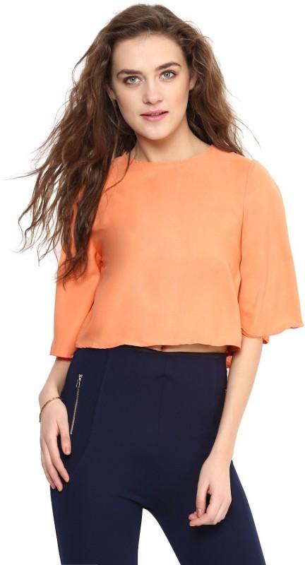 Uptownie Lite Casual 3/4th Sleeve Solid Women's Orange Top