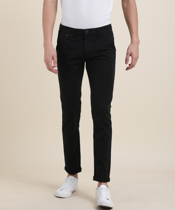 Spykar Jacob Slim Fit Mens Black Trousers