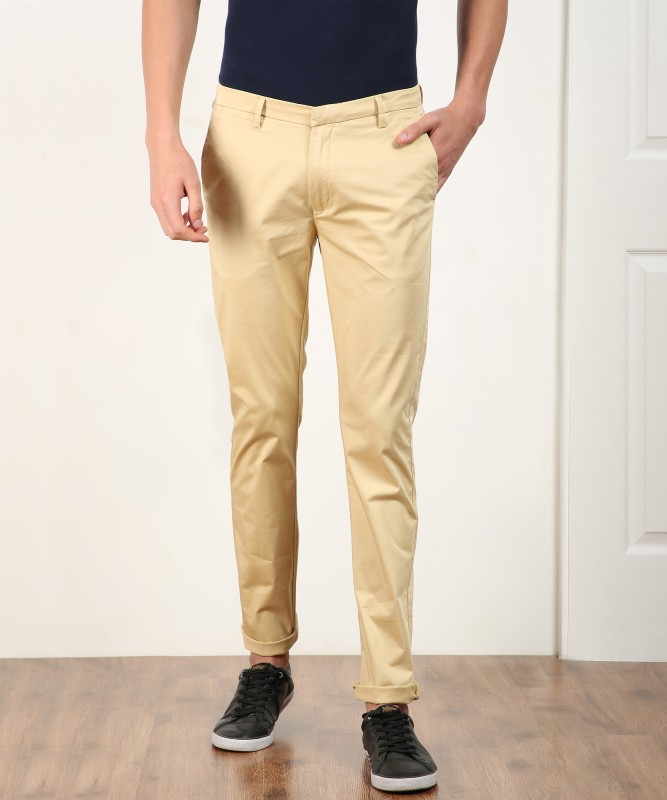 Spykar Slim Fit Men Beige Trousers