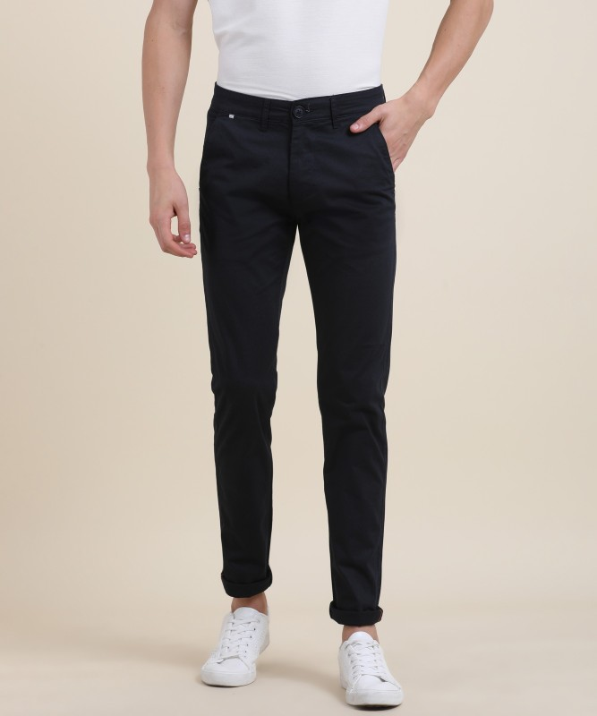 Spykar Spykar Slim Fit Mens Black Trousers