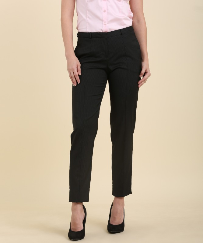 Van Heusen Mariia Slim Fit Womens Black Trousers