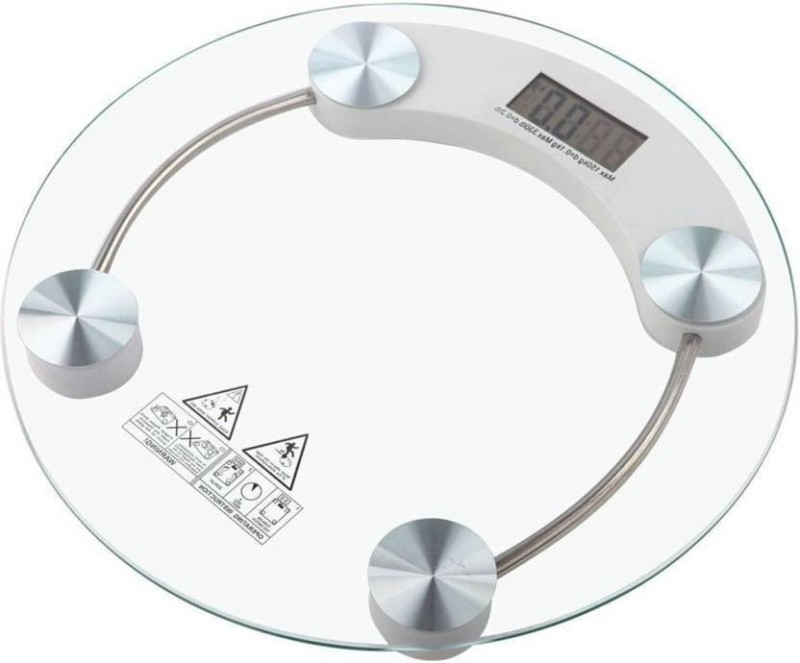 TECHNOPEDIA Digital Bathroom Personal Body Weight Weighing Scale 8 Mm Thick Glass White (Round) Weighing Scale (transparent) Weighing Scale(TRANSPARENT)