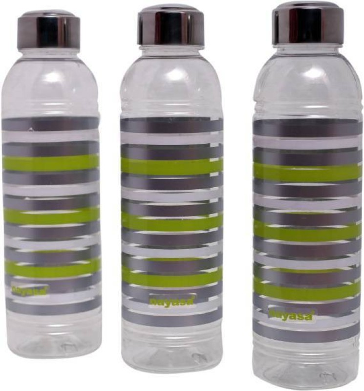 Nayasa Nyasa Pet Bottles (Pack Of 3) 1000 ml Bottle(Pack of 3, Green, Grey)