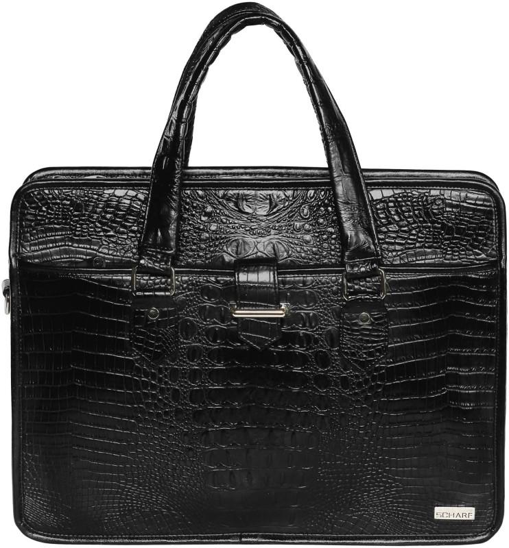 SCHARF SAL MARONI - CROC HAD A DIAL 17 LAPTOP SHOULDER BAG Medium Briefcase - For Men(Black)