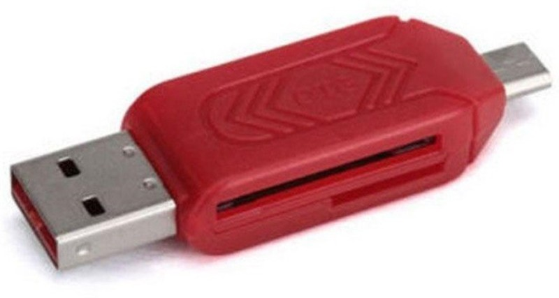 OLECTRA USB 2.0 + Micro USB OTG SD T-Flash Adapter for Cell Phones PC Card Reader (Red) Card Reader(Red)