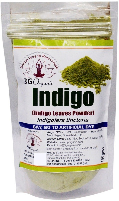 3G Organic Indigo Powder Organic 100 Gms Indigofera Tinctoria Hair Color(Black)