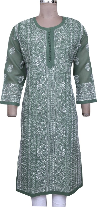 Ada Women's Embroidered, Chikan Embroidery Straight Kurta(Green)