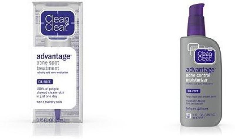 Clean & Clear Advantage Acne Spot Treatment, Salicylic Acid Acne Medication.75 Fl. Oz And Advantage Acne Control Facial Moisturizer, 4 Fl. Oz. (Pack Of 3)(22.18 ml)