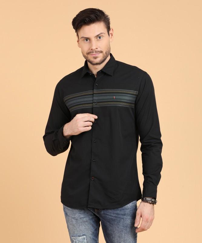 LP Louis Philippe Men Striped Casual Black Shirt