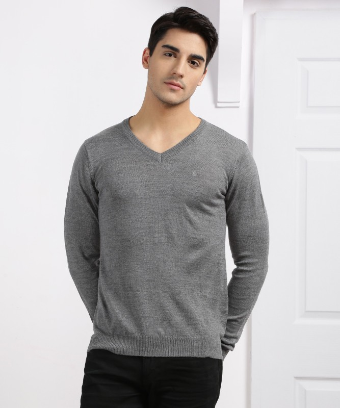 Louis Philippe Solid V-neck Casual Men's Grey Sweater