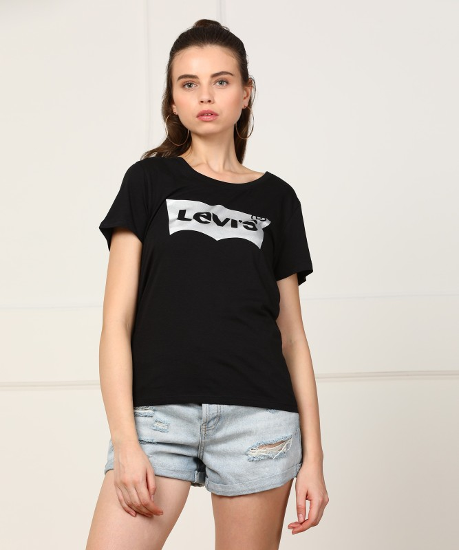 Levi's Printed Women's Round Neck Black T-Shirt