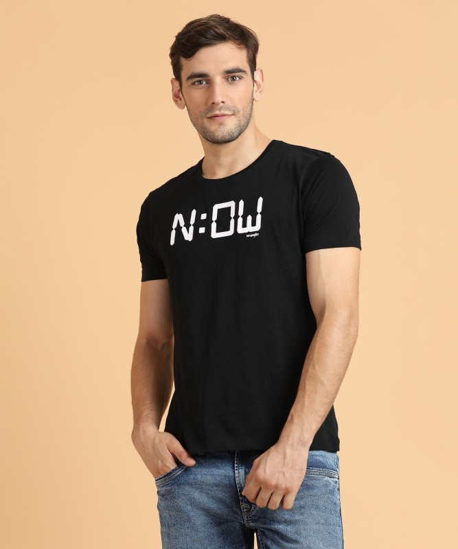 Wrangler Printed Mens Round Neck Black T-Shirt