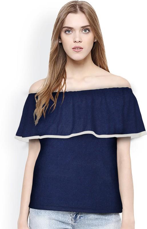 Rudra Enterprise Party Short Sleeve Stylised Women's Blue Top