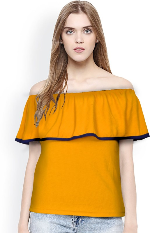 Rudra Enterprise Party Short Sleeve Stylised Women's Yellow Top