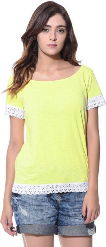 Uptownie Lite Casual Short Sleeve Solid Women's Yellow Top