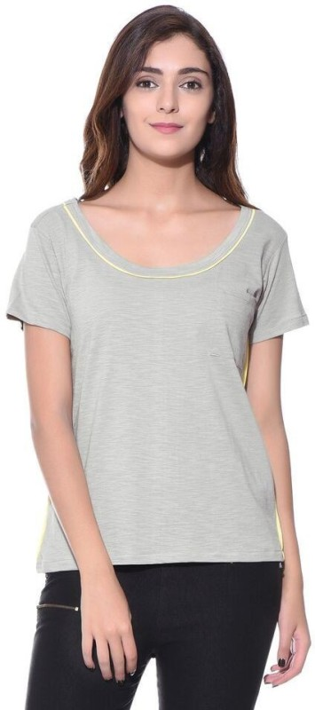 Uptownie Lite Casual Short Sleeve Solid Women Grey Top