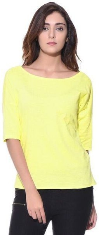 Uptownie Lite Casual 3/4th Sleeve Solid Women's Yellow Top