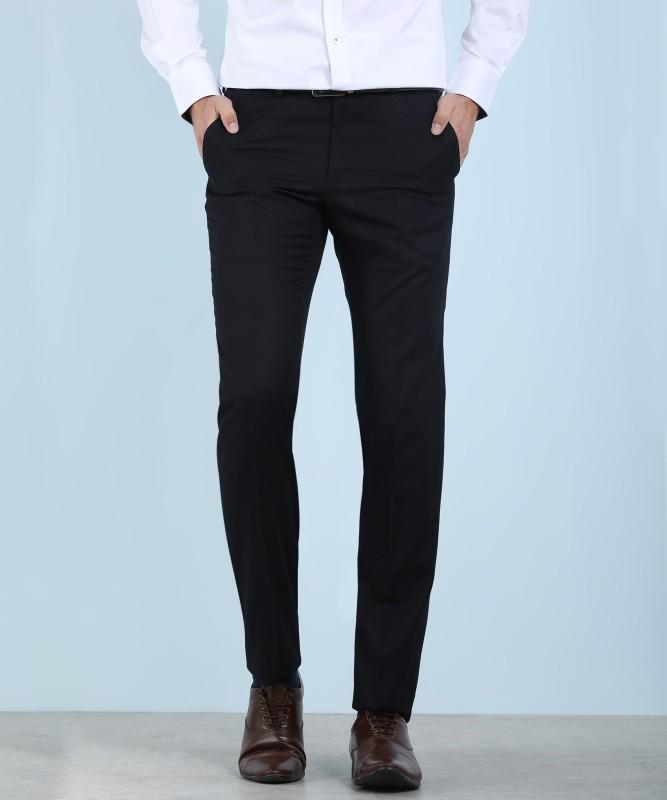 Louis Philippe JACOB Regular Fit Men's Black Trousers