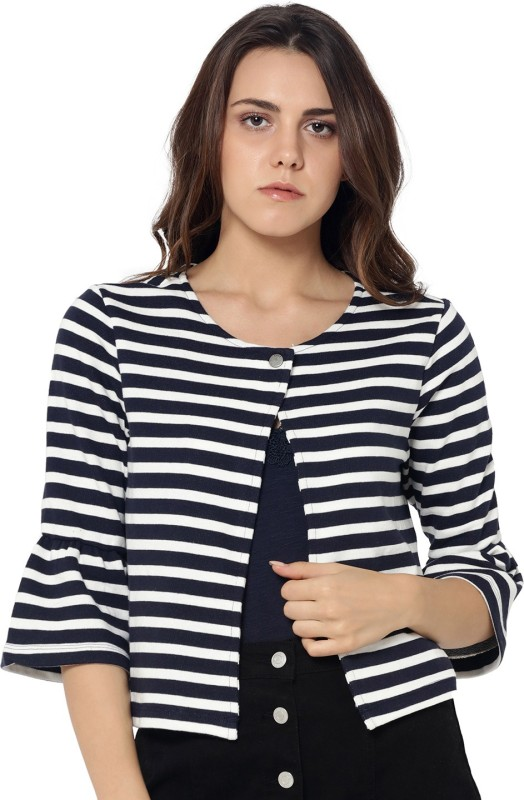 Only Striped Mandarin Casual Women Blazer(Blue)
