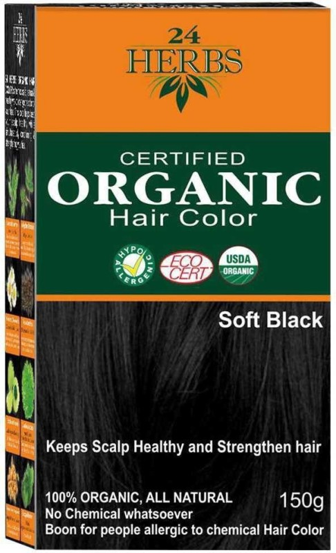 24 Herbs Certified Organic hair color Hair Color(Soft Black)