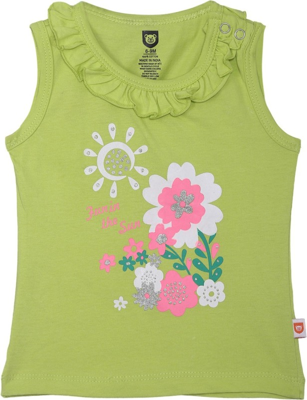 612 League Baby Girls Casual Cotton Top(Green, Pack of 1)