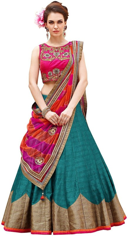 KUSUM FASHION Embroidered Lehenga Choli(Light Blue)