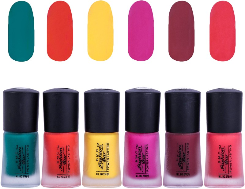 SMC FASHION BAR Dull Velvet Matte Nail Polish Nail Polish Combo Matte Dark Green, Matte Orange, Matte Neon Yellow, Matte Hot Pink, Matte Sangria Red, Matte Lava Pink(Pack of 6)