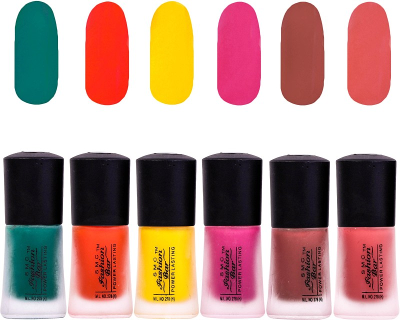SMC FASHION BAR nail polish Matte Dark Green, Matte Orange, Matte Neon Yellow, Matte Hot Pink, Matte Rosewood Red, Matte Rose Pink(Pack of 6)