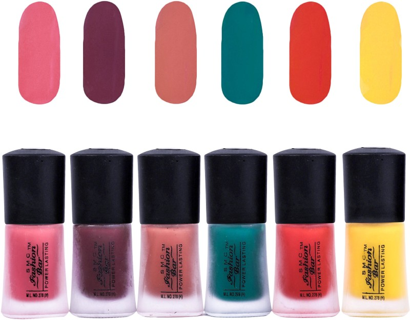 SMC FASHION BAR Dull Velvet Matte Nail Polish Nail Polish Combo Matte Rose Pink, Matte Chocolate Brown, Matte Coral Peach, Matte Dark Green, Matte Orange, Matte Neon Yellow(Pack of 6)