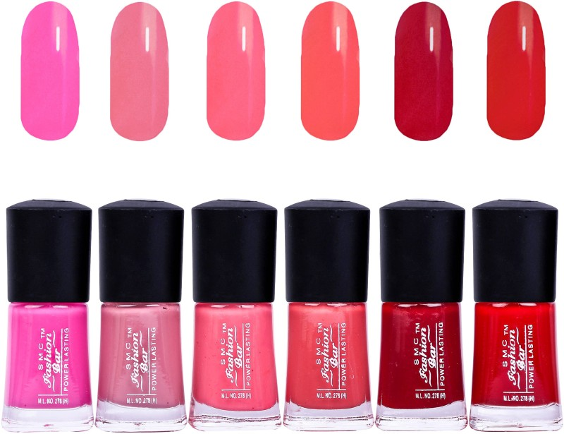 SMC FASHION BAR Gel Based Nail Polish Combo Rose Pink, Light Rosewood, Strawberry Pink, Peach, Garnet Red, Blood Red(Pack of 6)