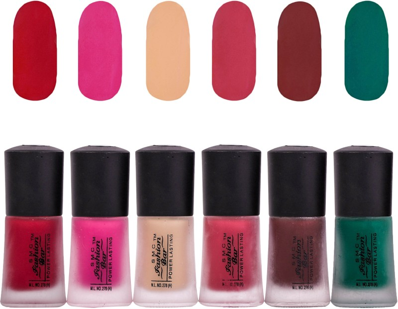 SMC FASHION BAR Dull Velvet Matte Nail Polish Nail Polish Combo Matte Garnet Red, Matte Hot Pink, Matte Nude Almond, Matte Mulberry Brown, Matte Chocolate Brown, Matte Dark Green(Pack of 6)