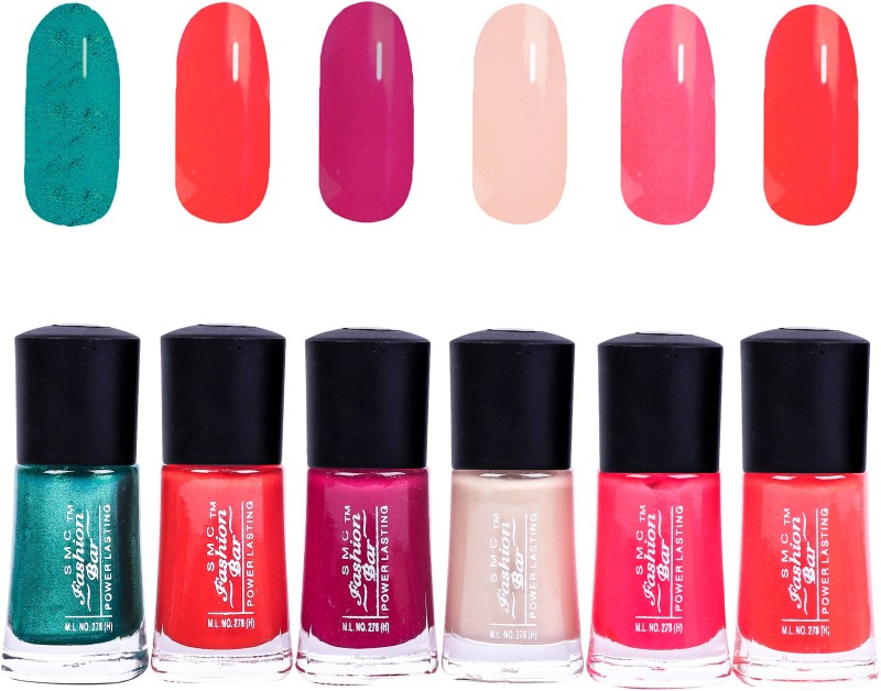 SMC FASHION BAR Gel Based Nail Polish Combo Shimmer Green, Neon Orange, Wine Red, Nude Brown, Crimson Red, Neon Pink(Pack of 6)