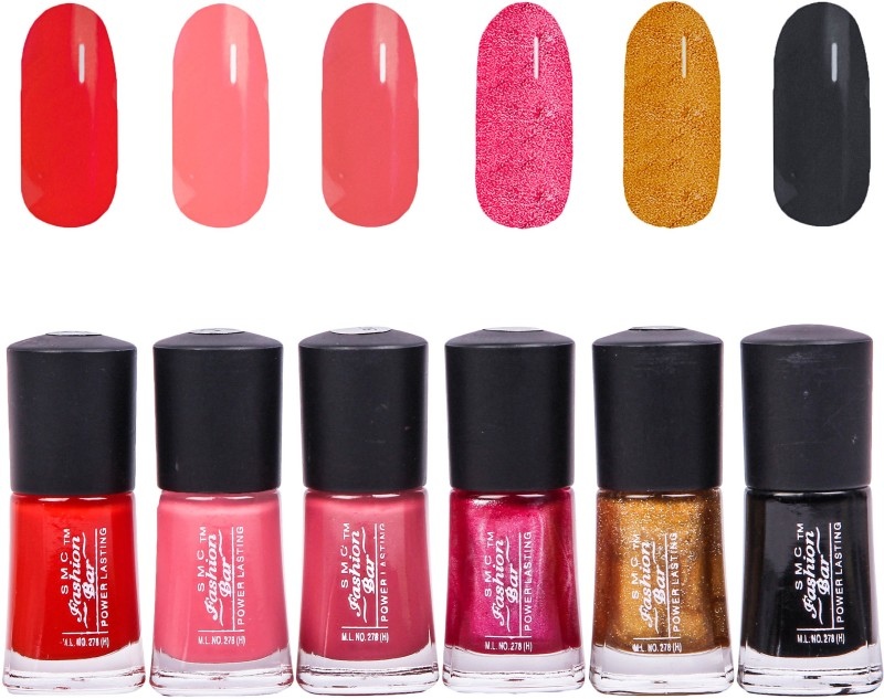 SMC FASHION BAR Gel Based Nail Polish Combo Crimson Red, Blush Peach, Brick Red, Shimmer Berry Pink, Glitter Golden, Black(Pack of 6)