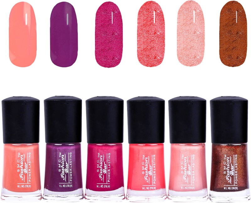 SMC FASHION BAR Gel Based Nail Polish Combo Brown Peach, Raisin Mauve, Shimmer Ruby Pink, Salmon Peach, Shimmer Light Peach, Shimmer Copper Brown(Pack of 6)