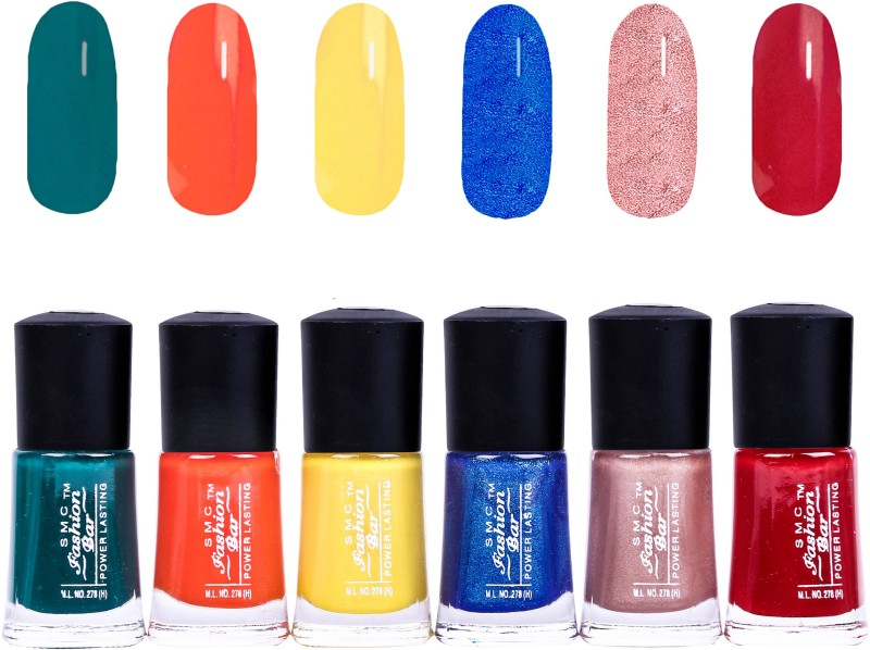 SMC FASHION BAR Gel Based Nail Polish Combo Dark Green, Orange, Shimmer Neon Yellow, Shimmer Dark Blue, Shimmer Nude Brown, Garnet Red(Pack of 6)