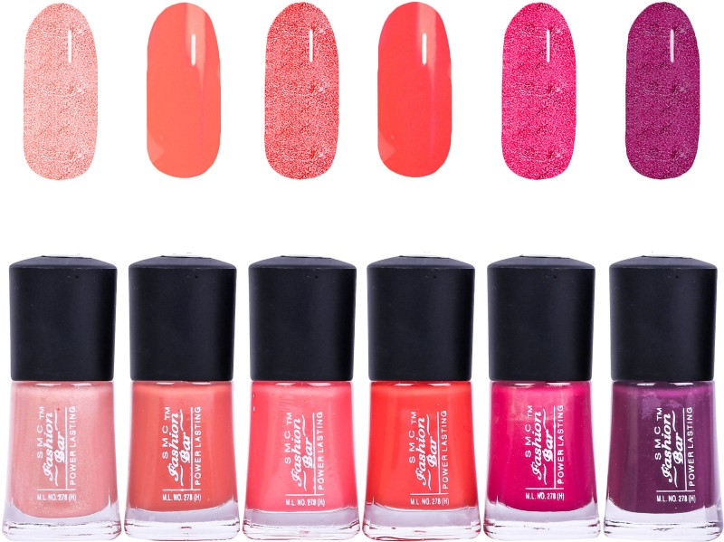 SMC FASHION BAR Gel Based Nail Polish Combo Shimmer Light Peach, Brown Peach, Salmon Peach, Neon Orange, Shimmer Ruby Pink, Raisin Mauve(Pack of 6)