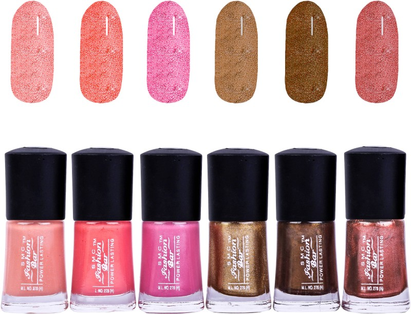 SMC FASHION BAR Gel Based Nail Polish Combo Shimmer Soft Peach, Shimmer Peach, Carnival Pink, Shimmer Golden, Glitter Dark Brown, Shimmer Copper Pink(Pack of 6)