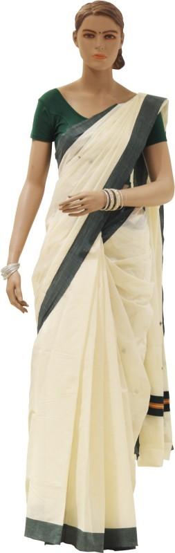 southloom Plain Kerala Cotton Saree(Cream)