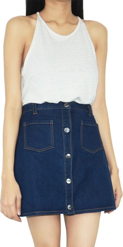 GIRAFFEANDCO Solid Women A-line Blue Skirt